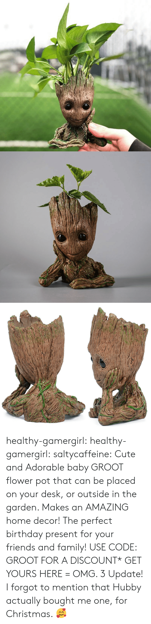 Birthday, Christmas, and Cute: healthy-gamergirl:  healthy-gamergirl:  saltycaffeine: Cute and Adorable baby GROOT flower pot that can be placed on your desk, or outside in the garden. Makes an AMAZING home decor! The perfect birthday present for your friends and family! USE CODE: GROOT FOR A DISCOUNT* GET YOURS HERE =  OMG. 3  Update! I forgot to mention that Hubby actually bought me one, for Christmas. 🥰