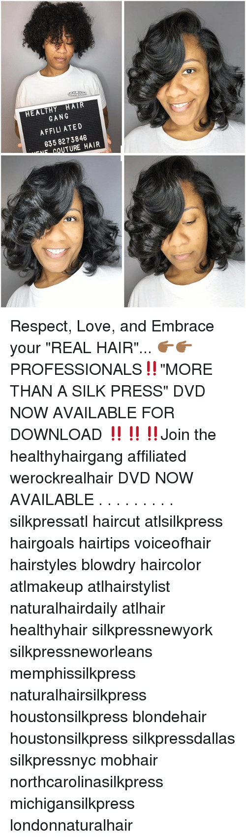 HEALTHY HAIR GANG AFFILI ATED 3 3 TURE HAIR Respect Love