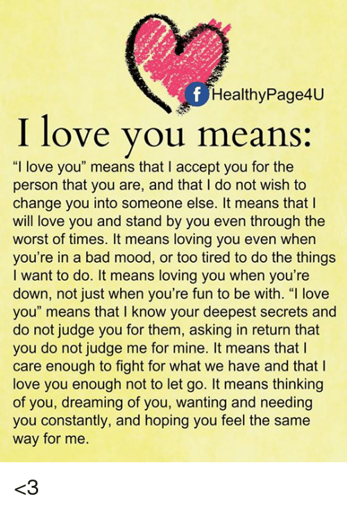 what it means to love someone