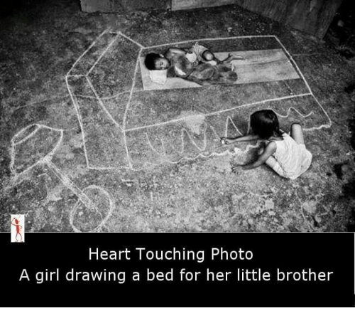 Memes, 🤖, and Brother: Heart Touching Photo  A girl drawing a bed for her little brother