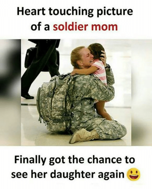 Memes, Heart, and Mom: Heart touching picture  of a soldier mom  Finally got the chance to  see her daughter again