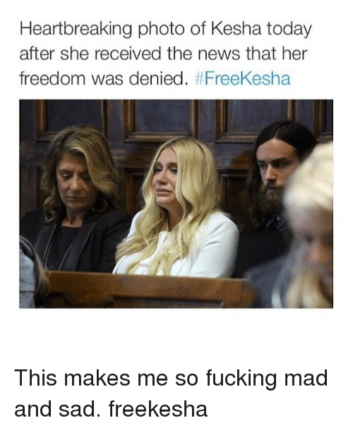 Fucking, News, and Fuck: Heartbreaking photo of Kesha today  after she received the news that her  freedom was denied  FreeKesha This makes me so fucking mad and sad. freekesha