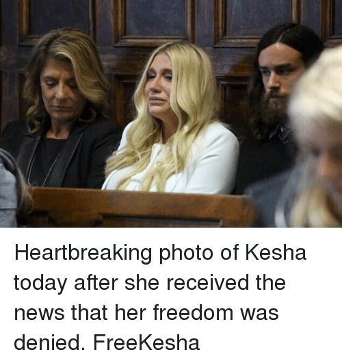 Funny, News, and Kesha: Heartbreaking photo of Kesha today after she received the news that her freedom was denied. FreeKesha