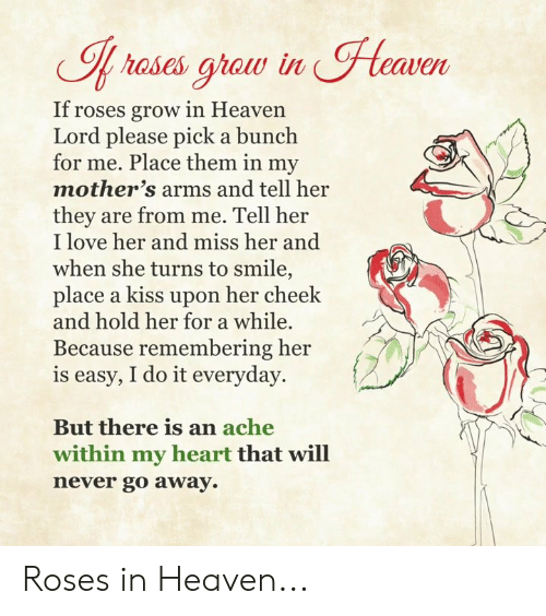 Heaven, Love, and Memes: Heaven  If rases graw in  If roses grow in Heaven  Lord please pick a bunch  for me. Place them in my  mother's arms and tell her  they are from me. Tell her  I love her and miss her and  when she turns to smile,  place a kiss upon her cheek  and hold her for a while.  Because remembering her  is easy, I do it everyday.  But there is an ache  within my heart that will  never go away Roses in Heaven...
