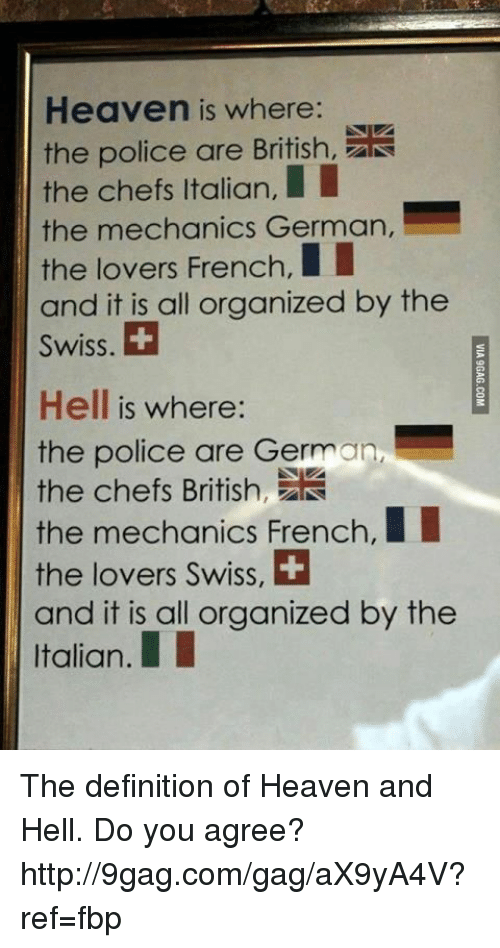Dank, 🤖, and Iis: Heaven is where:  the police are British,  the chefs II  Italian,  the mechanics German,  the lovers French,  and it is all organized by the  Swiss.  Hell is where:  the police are German,  the chefs British  the mechanics French,  II  the lovers Swiss, H  and it is all organized by the  Italian. The definition of Heaven and Hell. Do you agree? http://9gag.com/gag/aX9yA4V?ref=fbp