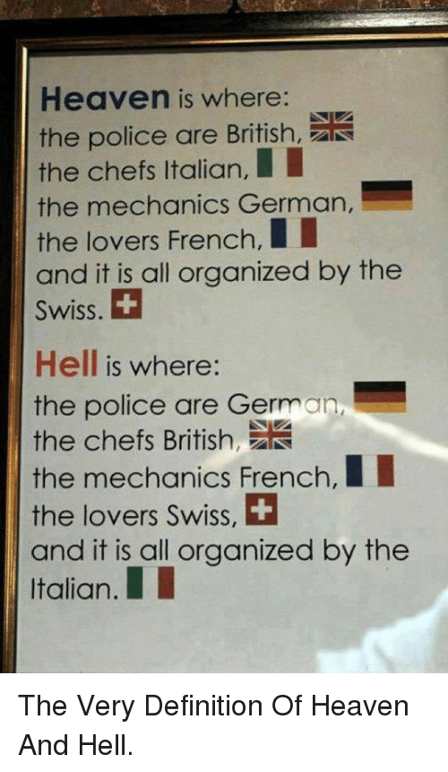 Heaven, Police, and Definition: Heaven is where:  the police are British,  the chefs Italian,  the mechanics German,  the lovers French,II  and it is all organized by thee  Swiss.  Hell is where:  the police are German,  the chefs Brtih  the mechanics French,I  the lovers Swiss, +  and it is all organized by the  Italian.I <p>The Very Definition Of Heaven And Hell.</p>