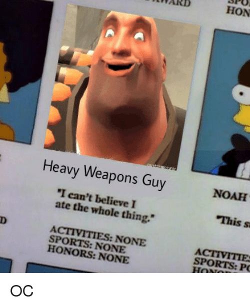 heavy weapons guy i can t believe i ate the thing sports none none