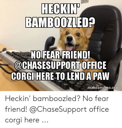 Did The Support Just Bamboozle Me Roblox Hec Bamboozled No Fear Friend Office Corgihere To Lend A Paw Makeamemeorg Heckin Bamboozled No Fear Friend Office Corgi Here Corgi Meme On Me Me