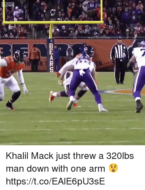 Football, Nfl, and Sports: HECK  OWN Khalil Mack just threw a 320lbs man down with one arm 😲 https://t.co/EAlE6pU3sE