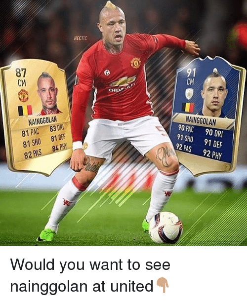 Memes, United, and 🤖: HECTIC  87  CM  8  NAINGGOLAN  81 PAC 83 DRI  81SHO 81 DEF  82 PAS 84 PHY  NAINGGOLAN  90 PAC 90 DR  91 SHO 91 DEF  92 PAS 92 PHY  2 Would you want to see nainggolan at united👇🏽