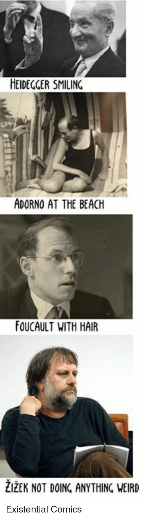 Memes, Existentialism, and 🤖: HEIDEGGER SMILING  ADORNO AT THE BEACH  FOUCAULT WITH HAIR Existential Comics