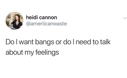 Humans of Tumblr, Cannon, and Heidi: heidi cannon  @ameriicanwaste  Do l want bangs or do l need to talk  about my feelings
