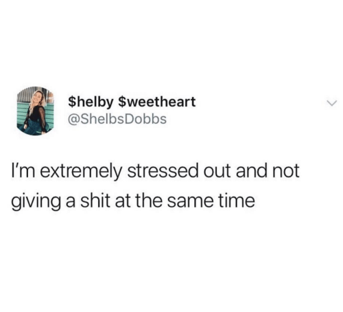 Shit, Time, and Stressed Out: $helby $weetheart  @ShelbsDobbs  I'm extremely stressed out and not  giving a shit at the same time