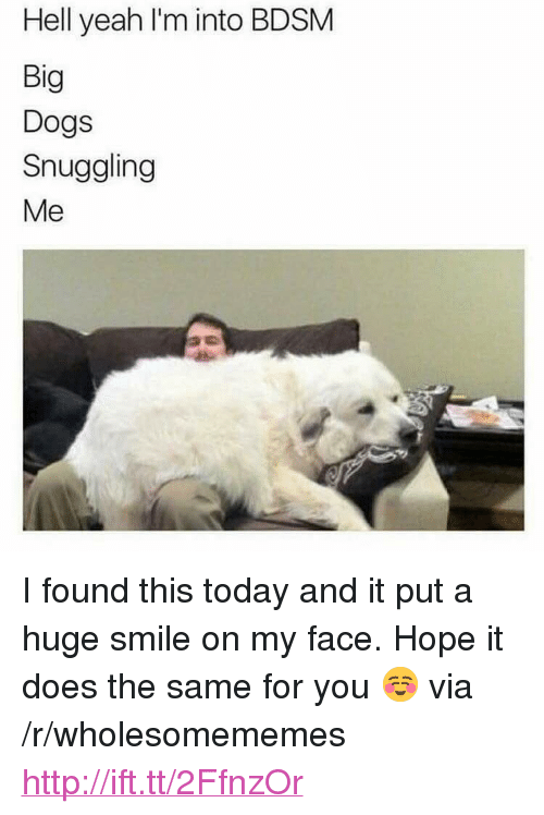 """Dogs, Yeah, and Http: Hell yeah l'm into BDSM  Big  Dogs  Snuggling  Me <p>I found this today and it put a huge smile on my face. Hope it does the same for you ☺️ via /r/wholesomememes <a href=""""http://ift.tt/2FfnzOr"""">http://ift.tt/2FfnzOr</a></p>"""