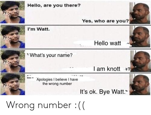 "Hello, Yes, and Who: Hello, are you there?  Yes, who are you?  I'm Watt.  Hello watt -  What's your name?  I am knott 2?  Apologies I believe I have  the wrong number  It's ok. Bye Watt."" Wrong number :(("