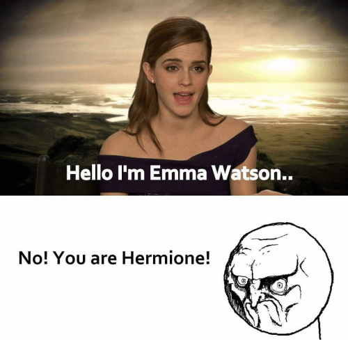 Emma Watson, Hermione, and Memes: Hello I'm Emma Watson..  No! You are Hermione!