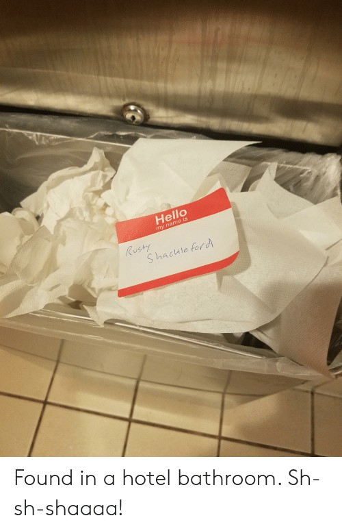 Funny, Hello, and Ford: Hello  my name is  US  S hacule ford Found in a hotel bathroom. Sh-sh-shaaaa!