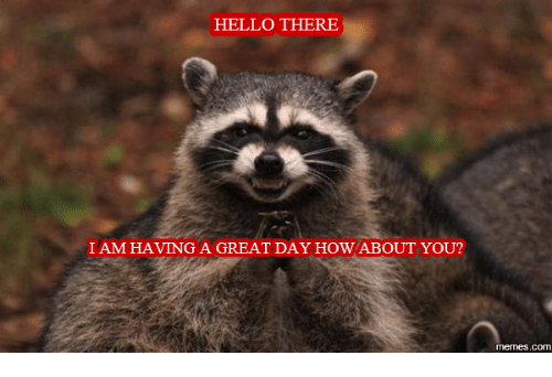 Hello There I Am Having A Great Day How About You Memes Com Have