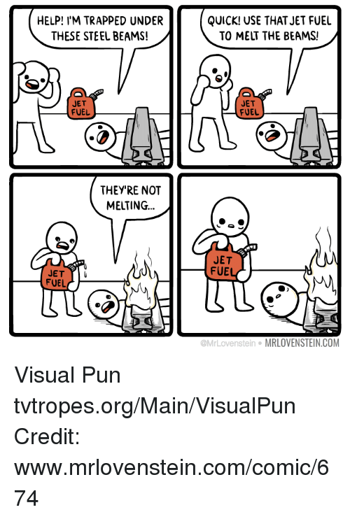 Memes, 🤖, and Steel: HELP! I'M TRAPPED UNDER  THESE STEEL BEAMS!  JET  FUEL  THEY'RE NOT  MELTING  JET  FUEL  QUICK! USE THAT JET FUEL  TO MELT THE BEAMS!  JET  FUEL  JET  FUE  tein MRLOVENSTEIN.COM Visual Pun tvtropes.org/Main/VisualPun Credit: www.mrlovenstein.com/comic/674