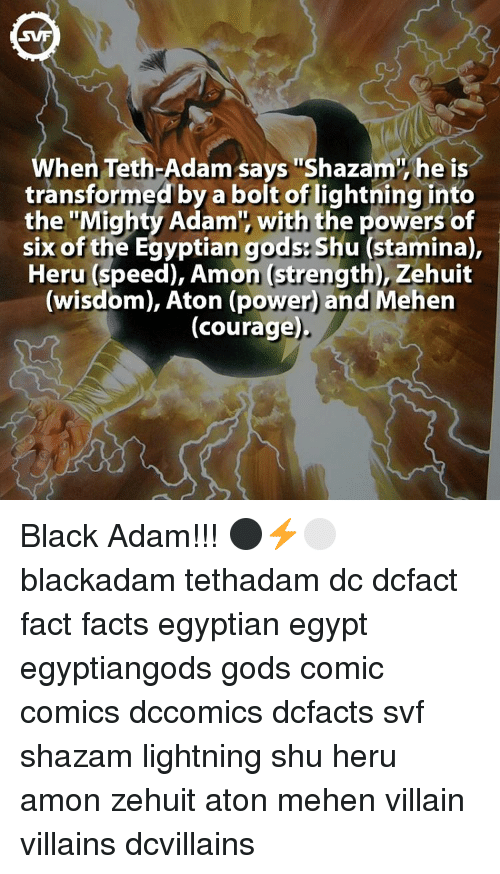 """Memes, Shazam, and Transformers: hen Teth-Adam says """"Shazam he is  transformed by a bolt of lightning into  the """"Mighty Adam', with the powers of  six of the Egyptian gods Shu (stamina),  Heru (speed), Amon Strength), Zehuit  (wisdom), Aton (power and Mehen  (courage) Black Adam!!! ⚫️⚡️⚪️ blackadam tethadam dc dcfact fact facts egyptian egypt egyptiangods gods comic comics dccomics dcfacts svf shazam lightning shu heru amon zehuit aton mehen villain villains dcvillains"""