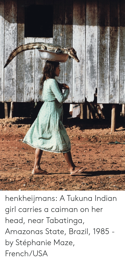 Head, Tumblr, and Blog: henkheijmans: A Tukuna Indian girl carries a caiman on her head, near Tabatinga, Amazonas State, Brazil, 1985 - by Stéphanie Maze, French/USA