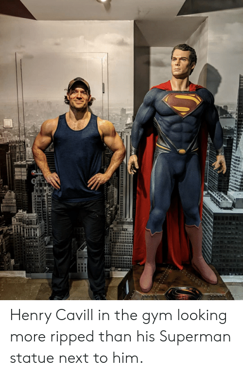 Gym, Superman, and Henry Cavill: Henry Cavill in the gym looking more ripped than his Superman statue next to him.