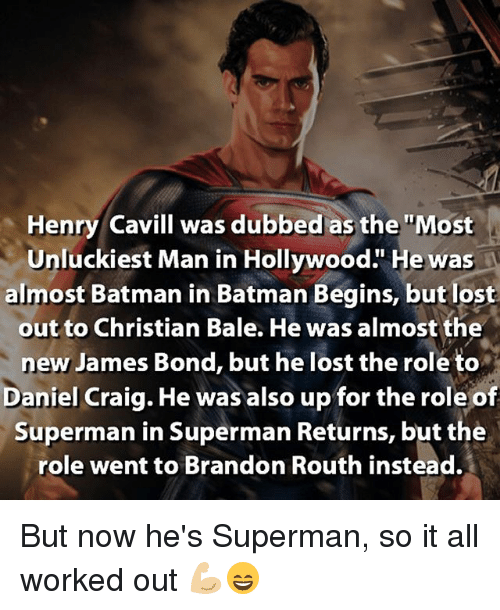 Batman James Bond And Memes Henry Cavill Was Dubbed As The Most