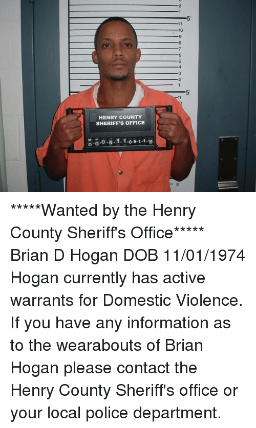 HENRY COUNTY SHERIFF'S OFFICE O O 51 1091-1 *****Wanted by