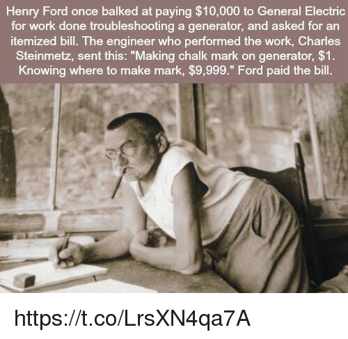 henry ford once balked at paying 10000 to general electric for work
