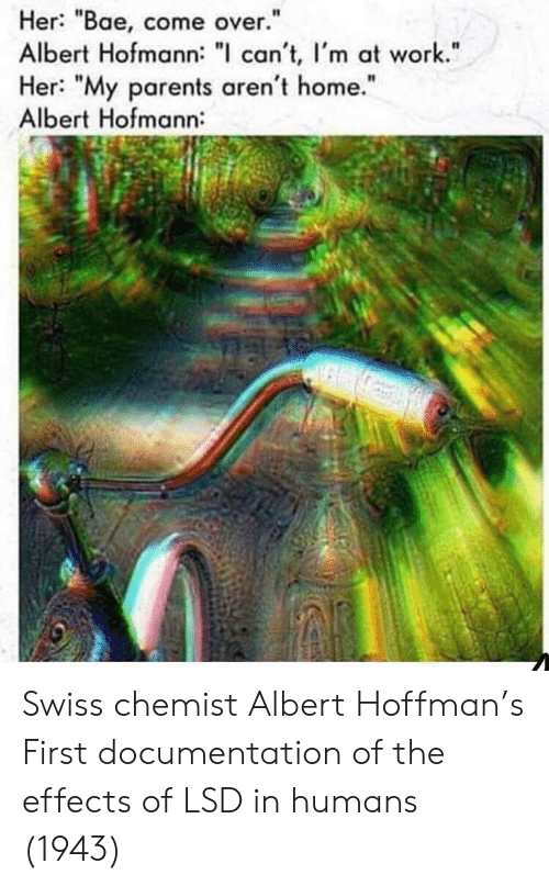 """Bae, Come Over, and Parents: Her: """"Bae, come over.""""  Albert Hofmann: """" can't, I'm at work.""""  Her: """"My parents aren't home.""""  Albert Hofmann:  I1  It Swiss chemist Albert Hoffman's First documentation of the effects of LSD in humans (1943)"""