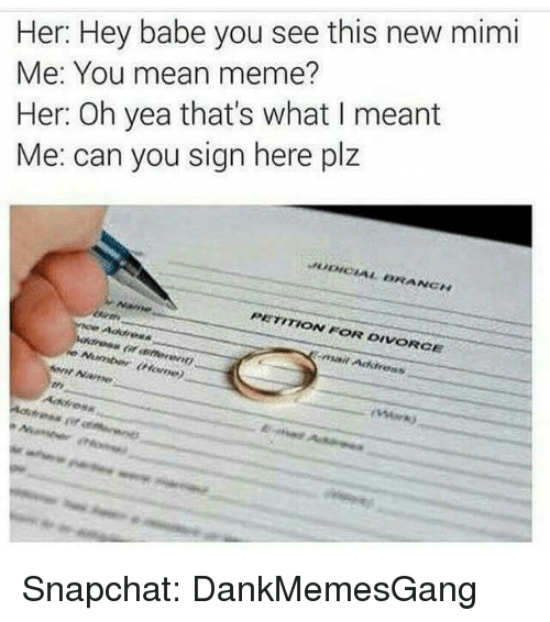 Memes, Snapchat, and Babes: Her: Hey babe you see this new mimi  Me: You mean meme?  Her: Oh yea that's what I meant  Me: can you sign here plz  BRANCH  PETITION FOR DIVORCE  Arnt Name Snapchat: DankMemesGang
