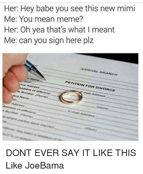 Memes, Say It, and Babes: Her: Hey babe you see this new mimi  Me: You mean meme?  Her: Oh yea that's what I meant  Me: can you sign here plz  PETITION FOR DIVORCE  Address DONT EVER SAY IT LIKE THIS  Like JoeBama