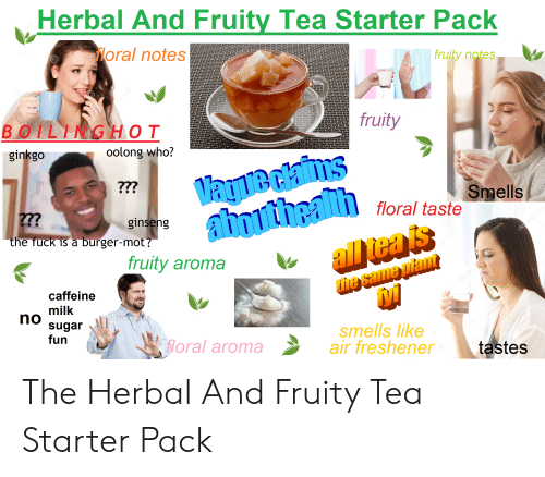 Smell, Starter Packs, and Fuck: Herbal And Fruity Tea Starter Pack  oral notes  fruity notes  fruity  BOILINGHOT  ginkgo  oolong who?  Smell  floral taste  ginseng  teal  the fuck is a burger-mot!  fruity aroma  he  caffeine  milk  sugar  fun  no  smells like  floral aromaair freshener  tastes The Herbal And Fruity Tea Starter Pack
