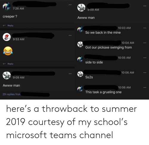 Microsoft, School, and Summer: here's a throwback to summer 2019 courtesy of my school's microsoft teams channel