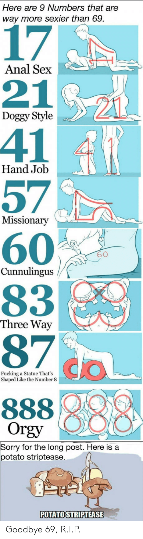 Anal Sex, Doggy Style, and Fucking: Here are 9 Numbers that are  way more sexier than 69.  17  211  41  57  60  83  97 CO  Anal Sex  21  Doggy Style  Hand Job  Missionary  60  Cunnulingus  Three Way  Fucking a Statue That's  Shaped Like the Number 8  Orgy  Sorry for the long post. Here is a  potato striptease  POTATO STRIPTEASE Goodbye 69, R.I.P.