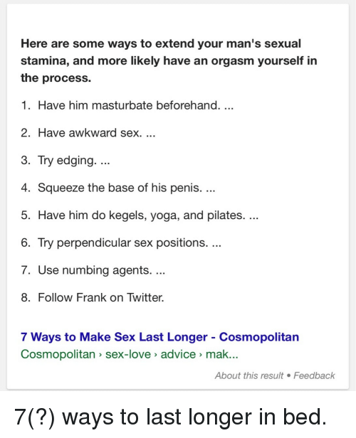 Sex positions to make him last longer
