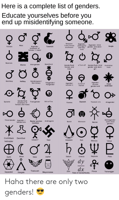 Fire, Prince, and Earth: Here is a complete list of genders  Educate yourselves before you  end up misidentifying someone  Betweern  1 and 3 knots  southward  Bigender:  androgyne  and neu-  trois  Bigender: third  Male  Nurgle  Bigender  (example of  female + male)  Female  Tzeentch  gender and demi-  Neutrois  Khorne  Intergender  Demifiend  a Turn-off Genderfluid: third Australian  Genderfluid:  female and  male  gender and demi-  ir  male  Demiboy  Genderqueer/  Non-binary  Hellboy  Pangender/  Poligender  Agender:  version 1  Curse of  Hatred  Agender:  version  gendervoid  Chaos  Undivided  Genderfluid  (example of ransgender  Epicene  Will of Fire  Femme  Slaanesh  Travesti n-b  Aliagender  female and male)  Demiagender  (with third  gender)  Third Gender Agender /  Genderless Bpolar junction Androgyne  transistor  Butch  Monsoon  Necron  Civil/Attack DemiGod  Unown F  Nazi  Assassin  Sun  helicopter  Mercury  Venus  Earth  Moon  Mars  Jupiter  Saturn  Uranus  Neptune  Pluto  mayo  Trans-am Mayonnaise  Prince  Separatist  Stargate  Rate of Genderfluidity  Transnigger Haha there are only two genders! 😎