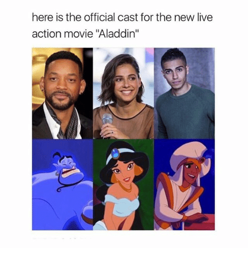 "Aladdin, Funny, and Live: here is the official cast for the new live  action movie ""Aladdin"""