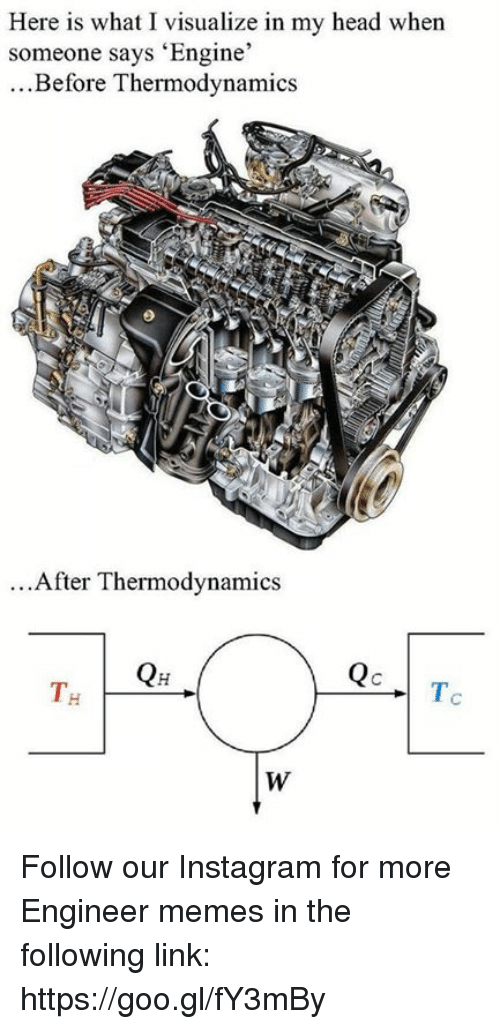 Head, Instagram, and Memes: Here is what I visualize in my head when  someone says 'Engine'  ...Before Thermodynamics  ...After Thermodynamics  T. Follow our Instagram for more Engineer memes in the following link: https://goo.gl/fY3mBy
