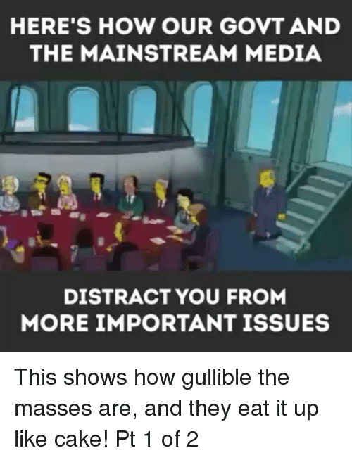 Memes, Cake, and 🤖: HERE'S HOW OUR GOVT AND  THE MAINSTREAM MEDIA  DISTRACT YOU FROM  MORE IMPORTANT ISSUES This shows how gullible the masses are, and they eat it up like cake! Pt 1 of 2