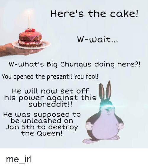 Here S The Cake W Wait W What S Big Chungus Doing Here You Opened