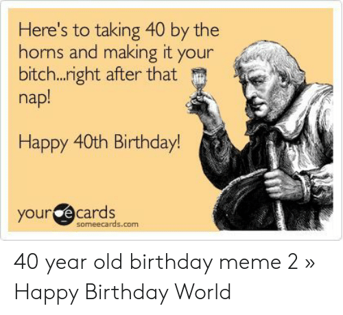 Your Ecards Someecards Com Memes Birthday Meme And Happy Heres To Taking 40 By The Hons