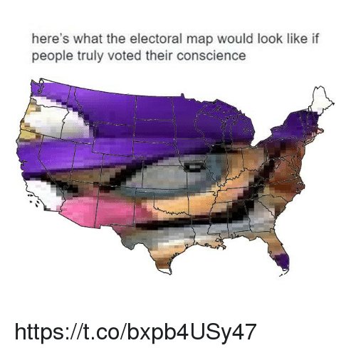 Conscience, Map, and What: here's what the electoral map would look like if  people truly voted their conscience https://t.co/bxpb4USy47