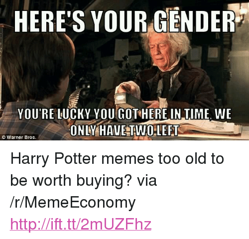"""Harry Potter, Memes, and Http: HERES YOUR GENDER""""  YOU'RE LUCKY YOU GOT HERE IN TIME, WE  ONLY HAVE TWOLEFT  ©Warner Bros <p>Harry Potter memes too old to be worth buying? via /r/MemeEconomy <a href=""""http://ift.tt/2mUZFhz"""">http://ift.tt/2mUZFhz</a></p>"""