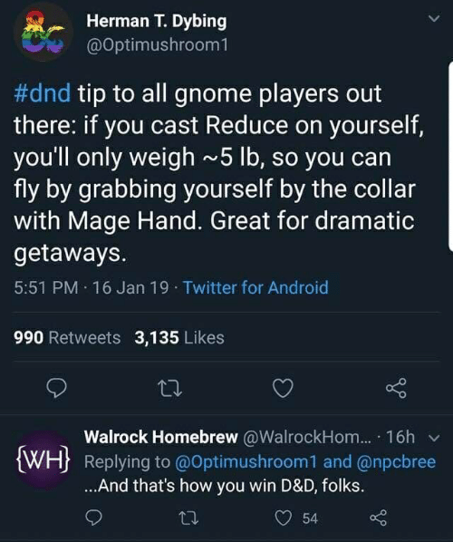 Herman T Dybing #Dnd Tip to All Gnome Players Out There if