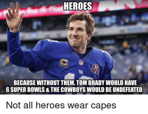 Funny Nfl Memes: HEROES MEMES NFL BECAUSE WITHOUT THEM TOM BRADYWOULD HAVE