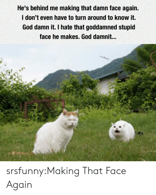 God, Tumblr, and Blog: He's behind me making that damn face again  I don't even have to turn around to know it.  God damn it. I hate that goddamned stupid  face he makes. God damnit... srsfunny:Making That Face Again