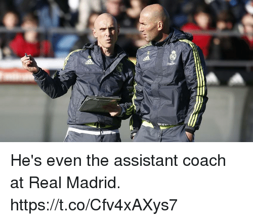 Memes, Real Madrid, and 🤖: He's even the assistant coach at Real Madrid. https://t.co/Cfv4xAXys7