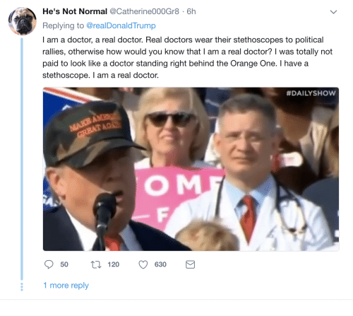 Doctor, Orange, and How: He's Not Normal @Catherine000Gr8 6h  Replying to @realDonaldTrump  I am a doctor, a real doctor. Real doctors wear their stethoscopes to political  rallies, otherwise how would you know that I am a real doctor? was totally not  paid to look like a doctor standing right behind the Orange One. I have a  stethoscope. I am a real doctor.  #DAILYSHow  O M  120 630B  50  ti120 630  1 more reply