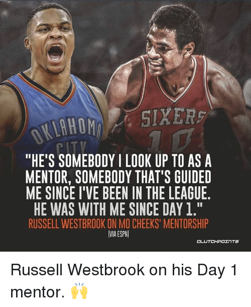 "Espn, Russell Westbrook, and The League: ""HE'S SOMEBODYI LOOK UP TO ASA  MENTOR, SOMEBODY THAT'S GUIDED  ME SINCE I'VE BEEN IN THE LEAGUE  HE WAS WITH ME SINCE DAY 1.""  RUSSELL WESTBROOK ON MO CHEEKS' MENTORSHIP  VMA ESPN  OL Russell Westbrook on his Day 1 mentor. 🙌"